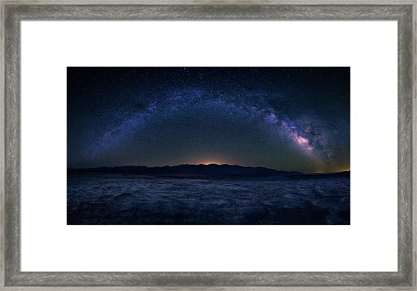 Badwater Under The Night Sky Framed Print by Michael Zheng