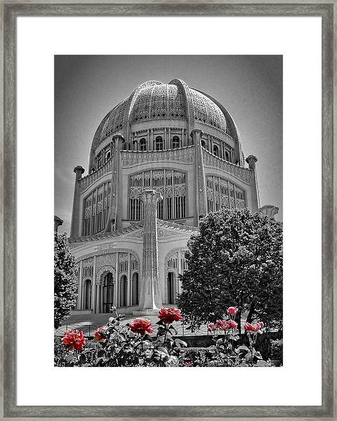 Bahai Temple Wilmette In Black And White Framed Print
