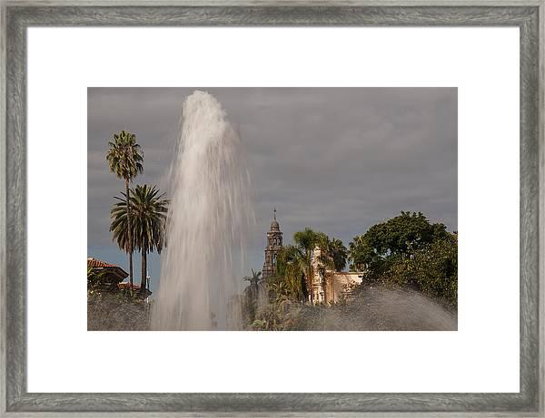Balboa Park Fountain And California Tower Framed Print