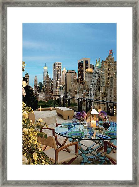 Balcony With Dining Table Framed Print