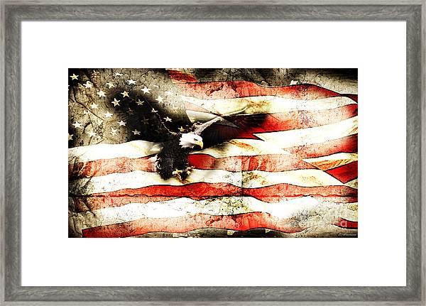 Bald Eagle Bursting Thru Flag Framed Print