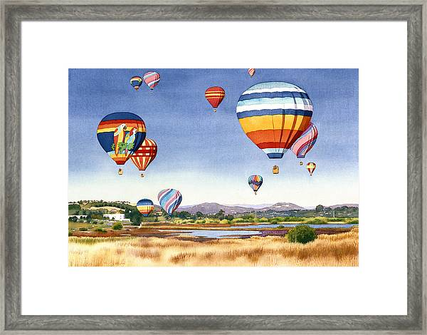 Balloons Over San Elijo Lagoon Encinitas Framed Print by Mary Helmreich