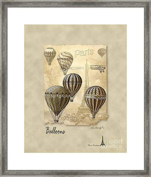 Balloons With Sepia Framed Print