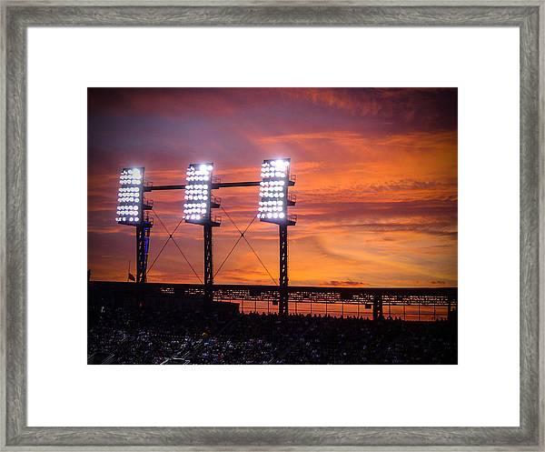 Ballpark At Sunset Framed Print