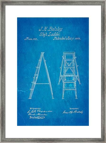 Balsley Step Ladder Patent Art 1862 Blueprint Framed Print by Ian Monk