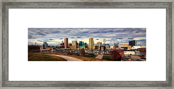 Baltimore Inner Harbor Skyline Panorama Framed Print