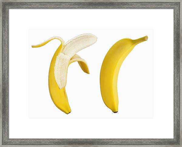 Bananas On White Framed Print by Lew Robertson