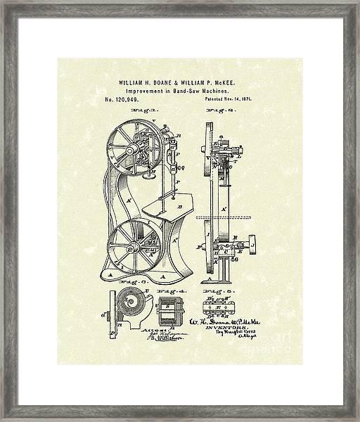 Band Saw 1871 Patent Art Framed Print