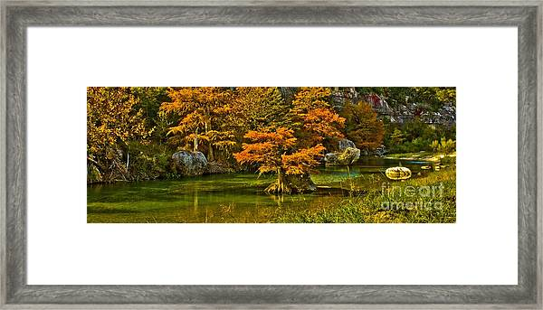Bandera Falls On Medina River Framed Print
