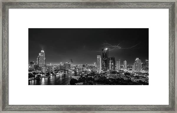 Bangkok Lightning Framed Print