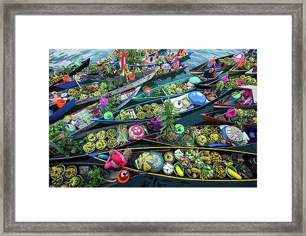 Banjarmasin Floating Market Framed Print