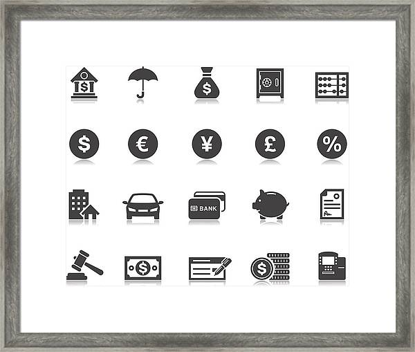 Banking & Finance Icons | Pictoria Series Framed Print by Runeer
