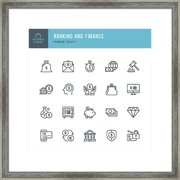 Banking And Finance  - Thin Line Icon Set Framed Print by Fonikum
