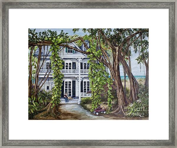Banyan Beach House Framed Print