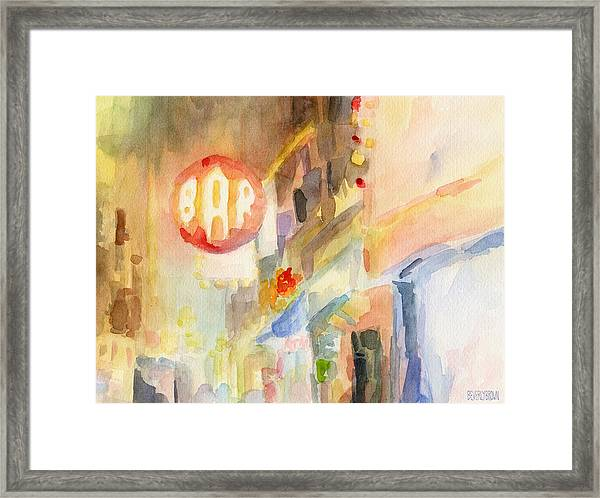 Bar 8th Avenue Watercolor Painting Of New York Framed Print by Beverly Brown