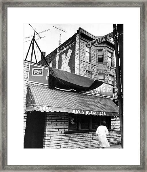Bar Outside Wrigley  Framed Print