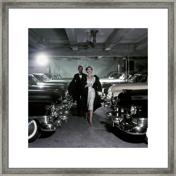 Barbara Mullen With Cars Framed Print by John Rawlings