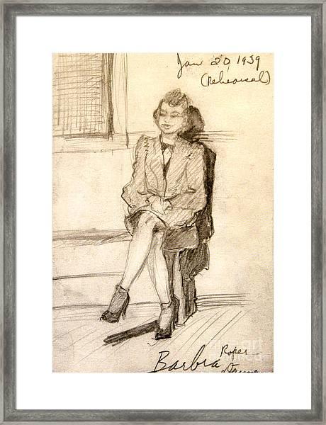 Barbara Waiting For Rehearsal  1939 Framed Print
