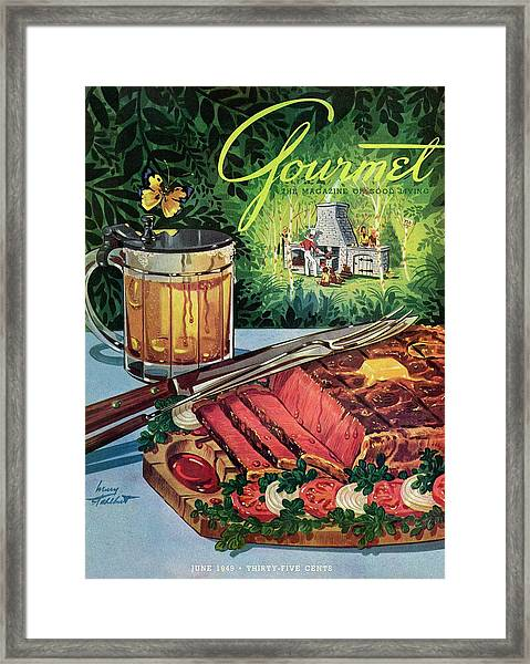 Barbeque Meat And A Mug Of Beer Framed Print