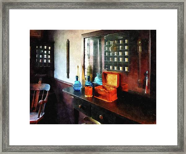 Barber - Hair Tonic And Shaving Mugs Framed Print