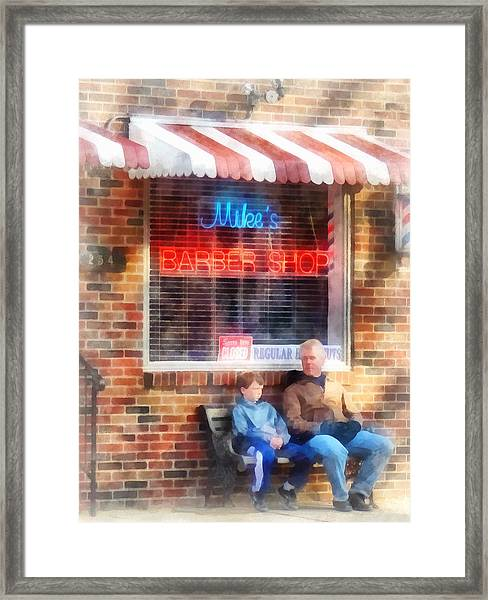 Barber - Neighborhood Barber Shop Framed Print