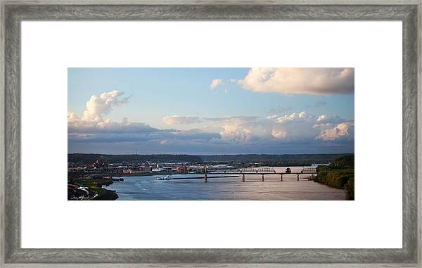 Barge Heads Up River Framed Print