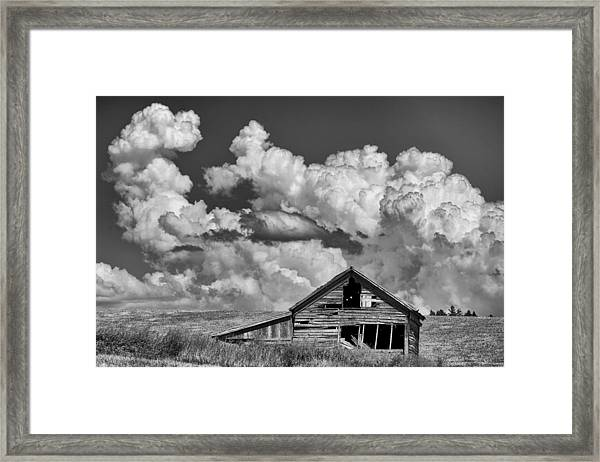 Barn And Clouds Framed Print by Latah Trail Foundation