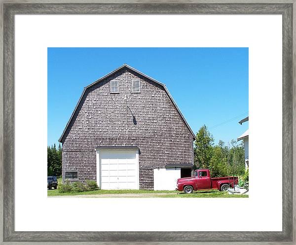 Barn And Old Pickup Framed Print