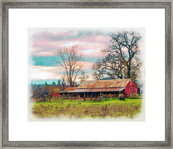 Framed Print featuring the photograph Barn In Penn Valley Painted by William Havle