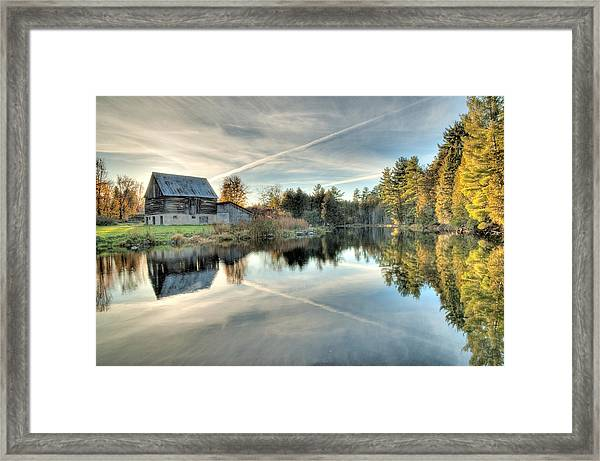 Barn On Mill Pond Along Waba Creek Framed Print