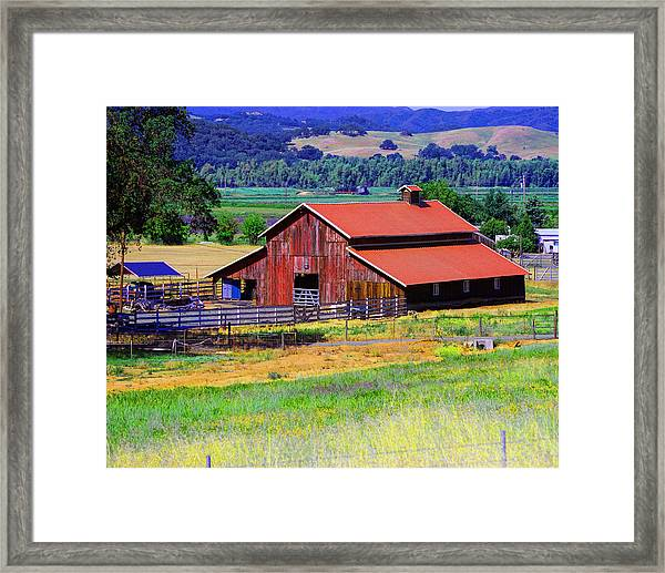 Barn On Route To Fort Bragg Framed Print