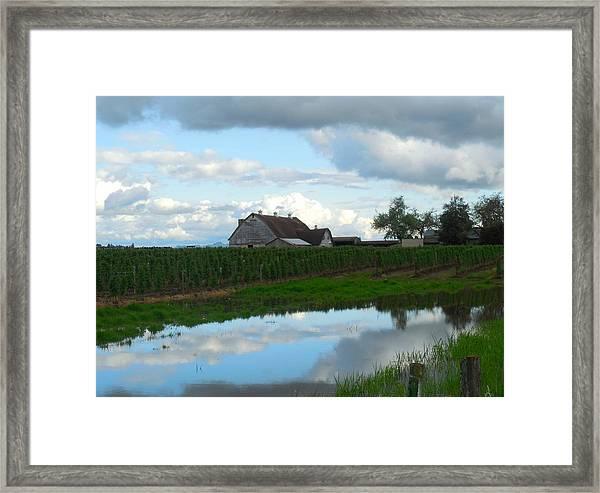 Barn Reflected In Pond  Framed Print by Karen Molenaar Terrell