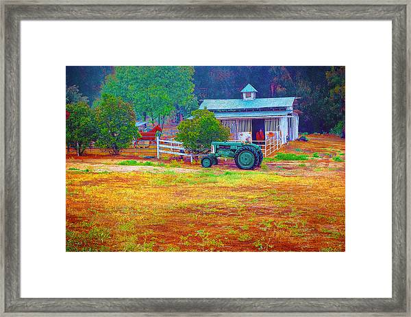 Barn With Horses And Oliver Tractor Framed Print