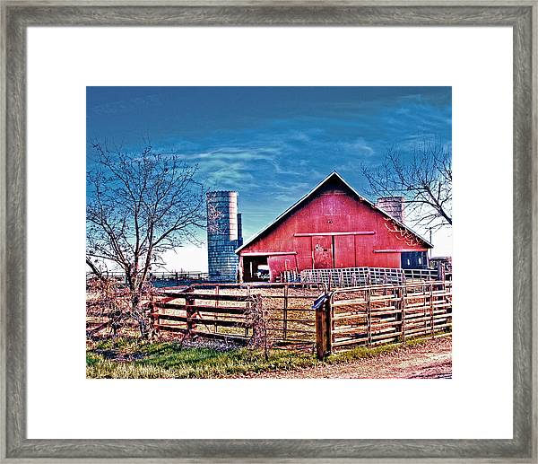 Framed Print featuring the photograph Barn With Silos by William Havle