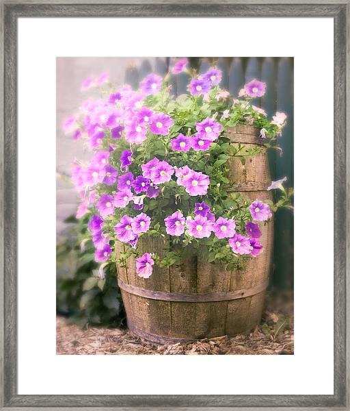 Barrel Of Flowers - Floral Arrangements Framed Print