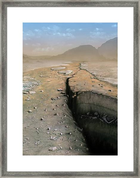 Barren Future Earth Framed Print by Mark Garlick/science Photo Library