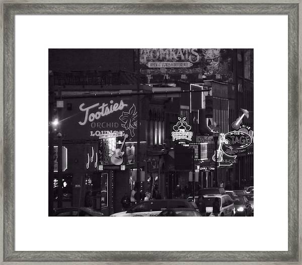 Bars On Broadway Nashville Framed Print