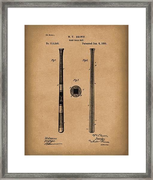 Baseball Bat 1885 Patent Art Brown Framed Print