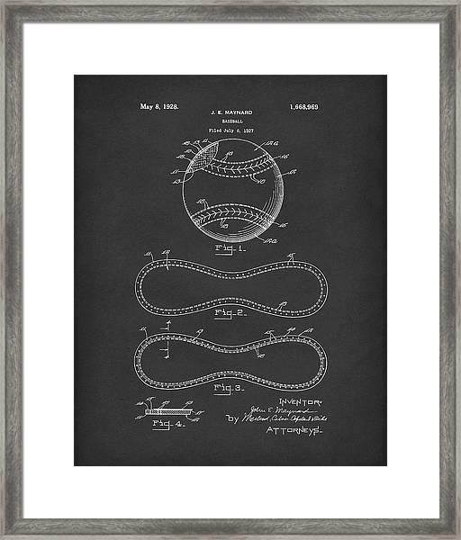 Baseball By Maynard 1928 Patent Art Black Framed Print