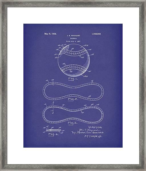 Baseball By Maynard 1928 Patent Art Blue Framed Print