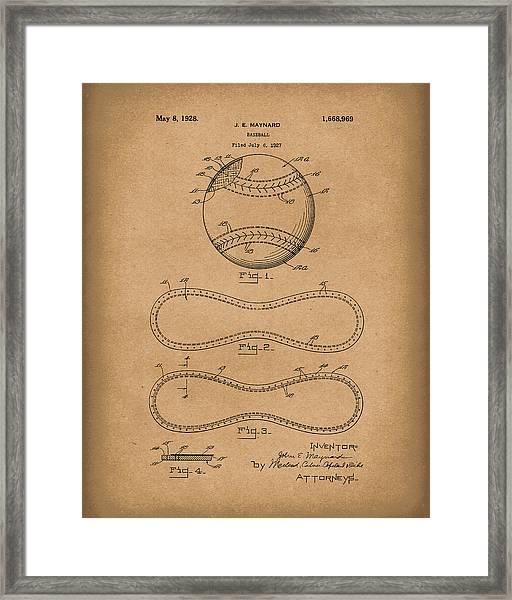 Baseball By Maynard 1928 Patent Art Brown Framed Print