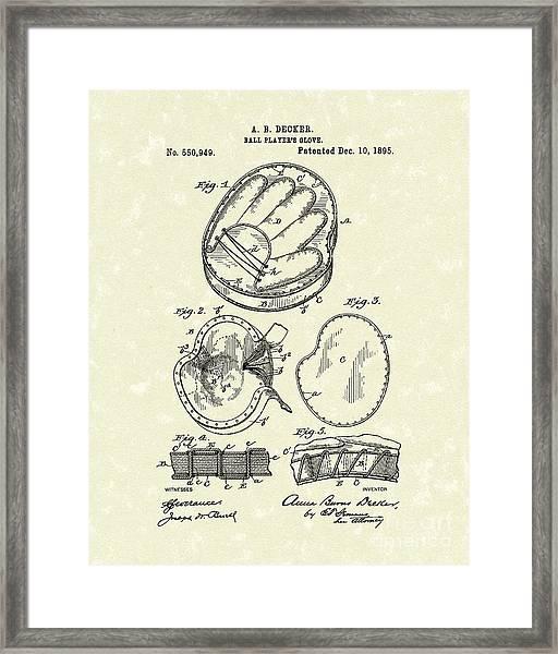 Baseball Glove 1895 Patent Art Framed Print