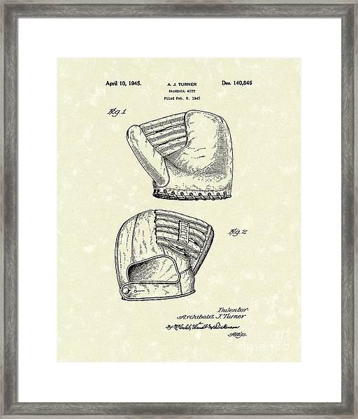 Baseball Mitt 1945 Patent Art Framed Print