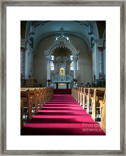 Framed Print featuring the photograph Basilica Of Saint Stanislaus Kostka Interior Center by Kari Yearous