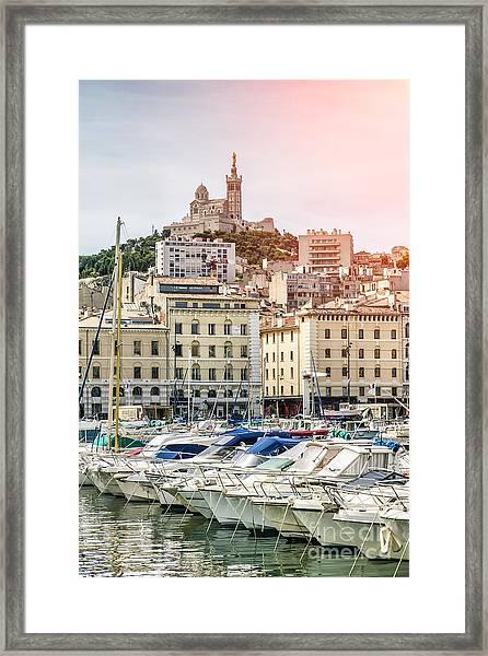 Basilique Notre-dame De La Garde From The Vieux Port Of Marseille Framed Print by Pier Giorgio Mariani