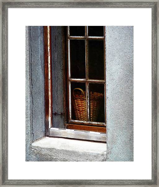 Basket In Window Framed Print