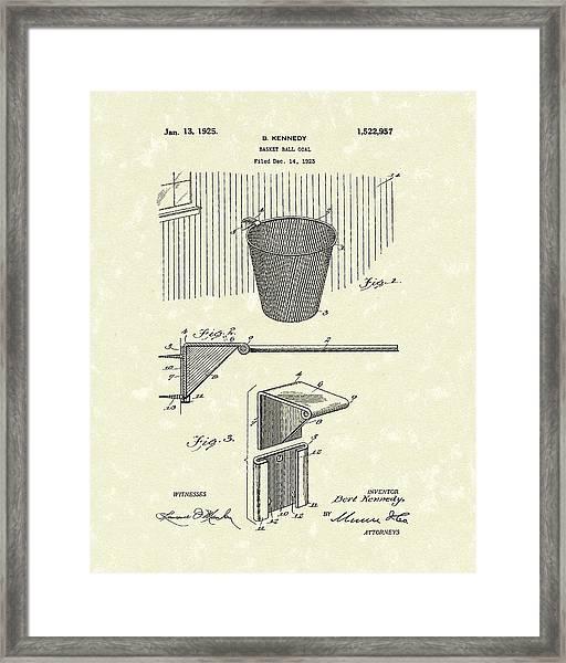 Basketball Hoop 1925 Patent Art Framed Print