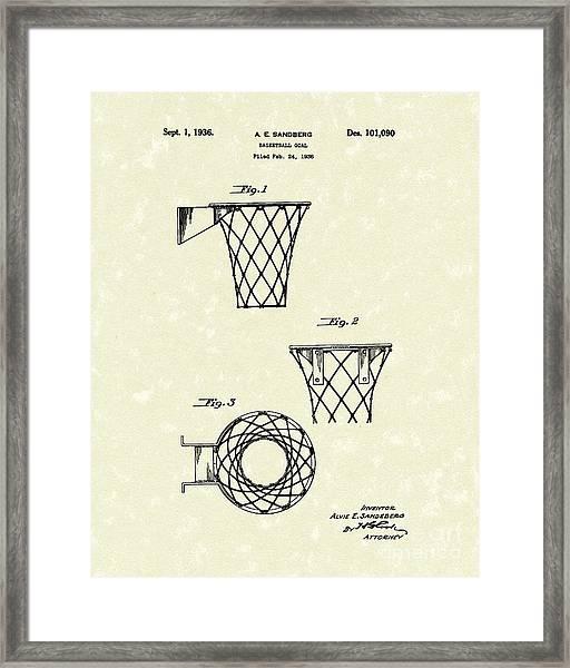 Basketball Hoop 1936 Patent Art Framed Print