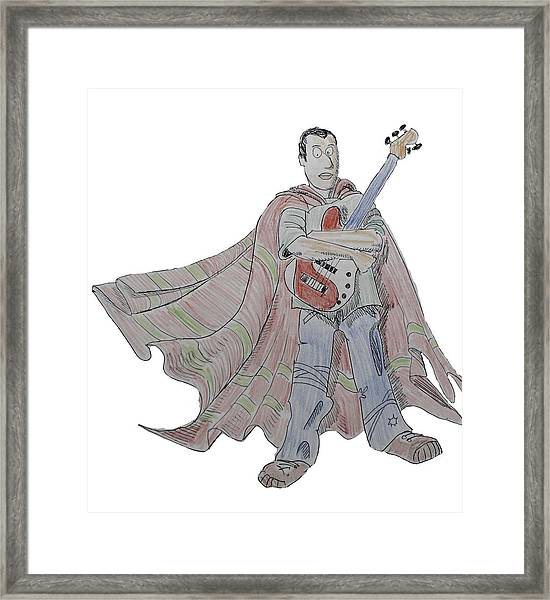 Bass Guitarist Cartoon Framed Print
