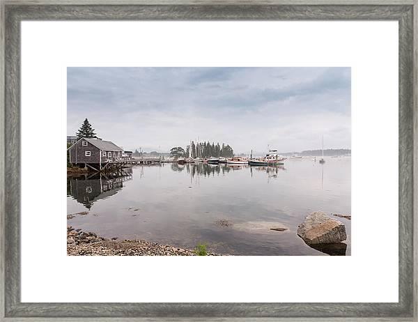 Bass Harbor In The Morning Fog Framed Print